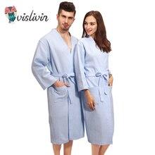 Vislivin 100% хлопок Для мужчин и Для женщин Пара халат пижамы с длинным Стиль полной длины пальто халат пижамы плюс Размеры Loungewear