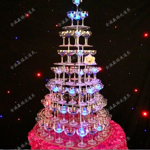 Tour à champagne de mariage à 7 niveaux | Accessoires d'approvisionnement de mariage, tour à vin en acrylique transparent 7 couches, tour à champagne