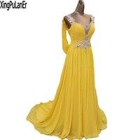 XingPuLanEr Amarelo Chiffon Pescoço V Capela Trem Strass Frisado Elegante Vestido de Noite Longo Prom Pageant Vestidos