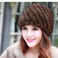 Women Mink Fur Knitting Hat Winter Lady Warm Thick Ear muffs Middle-Aged old Pineapple Handmde Fur Hat free shopping H#72
