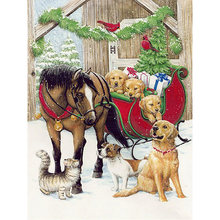 Diamond painted cross stitch full diamond resin pattern 5D DIY diamond embroidery Christmas carriage mosaic home decoration YY(China)