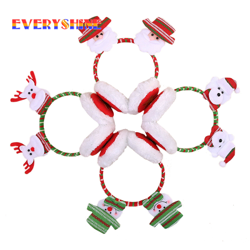 Merry Christmas Winter Earmuffs Kids Cartoon Santa Claus Snowman Party Xmas Festival Decor Hairstick Headband Ear Protect SD330