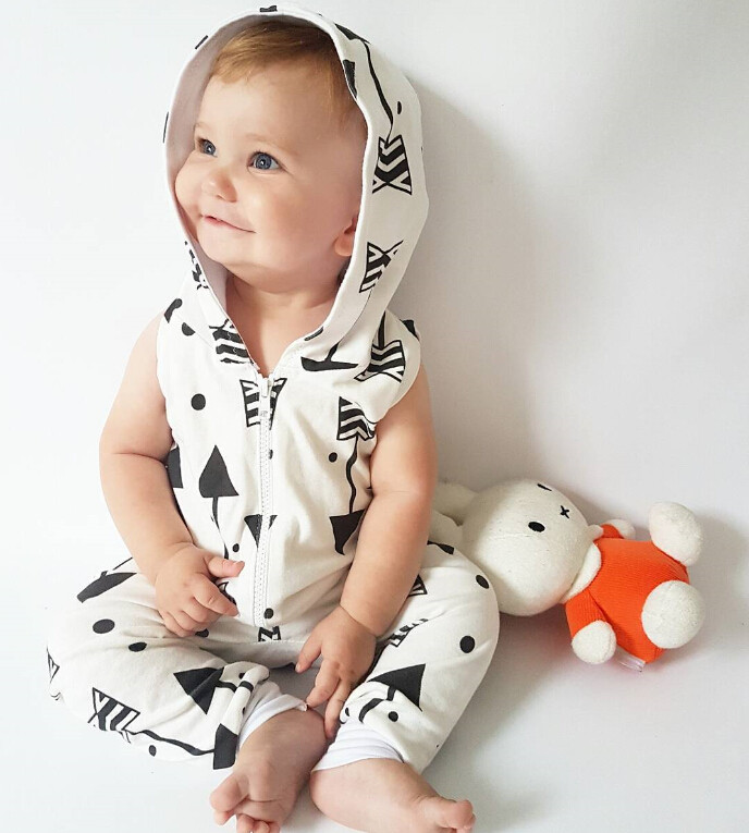 Infant Baby Boy Kid Clothing Hooded Sleeveless Romper Arrow Cute Zipper Jumpsuit Outfits Baby Boys Clothes 1