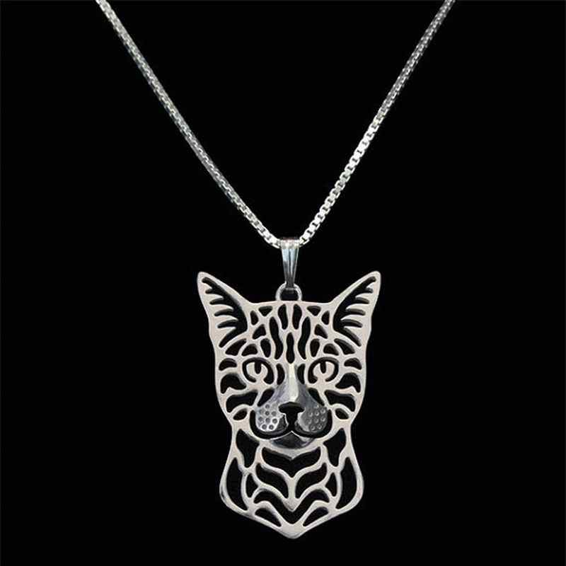 2019 Fashion Silver Alloy Jewelry Pendant Necklaces Lovers' Metal Bengal Cat Necklaces Drop Shipping