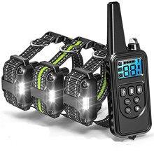 800 м дистанционный Электрический шок Вибрационный перезаряжаемый непромокаемый ошейник для дрессировки собак с ЖК-дисплеем
