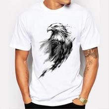 summer fashion 3D graffiti eagle simple men t shirt polyester white straight short sleeve tee man o neck casual tops soft