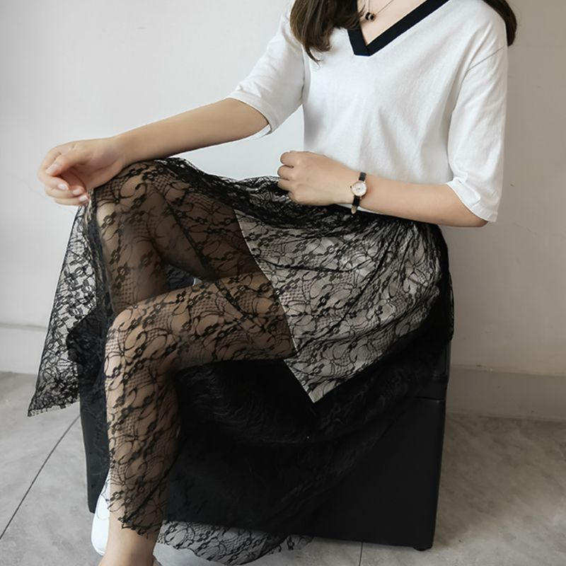 High Waist Women Girls Sheer Mesh Midi Long Skirt Crochet Floral Lace Summer Wrap Jacquard Wedding Party Tulle Overskirt in Skirts from Women 39 s Clothing