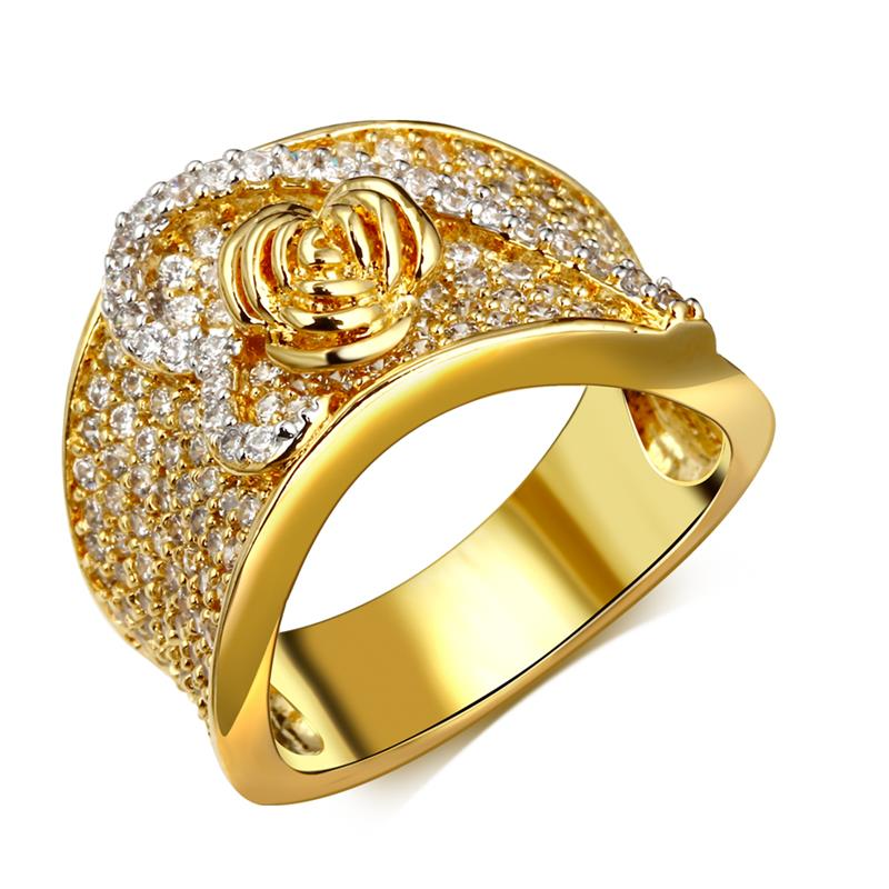 Fashion Secret Rose Heart Rings Design Cocktail Gold White Contrast