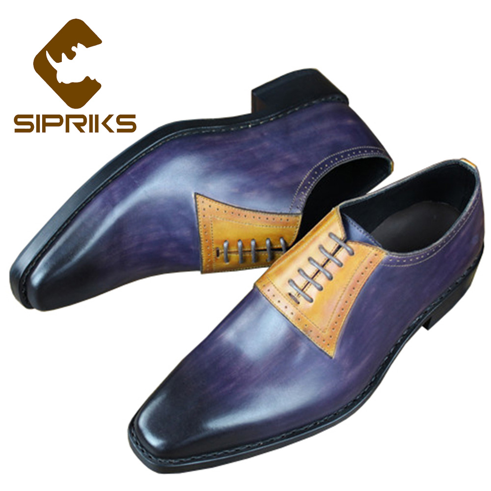 Couro Pintados Plana Formais As Mão Goodyear Sipriks Italiano Costume Sola Para Homens Luxo Welted Sapatos À Picture De Vestido Mens XTIFT6