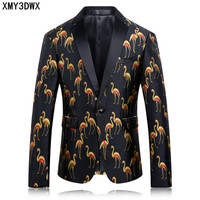 New Arrival Slim Fit Fashion Mens Suit Wedding Stage Party Dress Pattern Blazer Printing Bird Suits