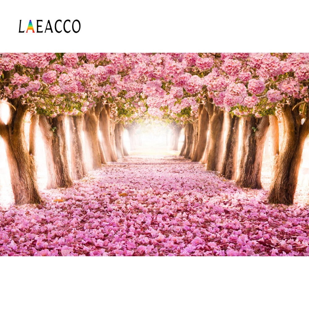 Laeacco Pink Blossom Avenue Scenery Baby Party Photo Backdrop Vinyl Photography Backgrounds For Photographic Studio Decor Props
