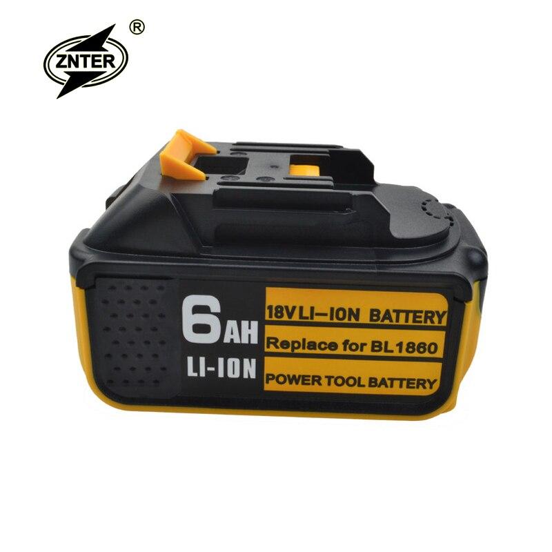 Znter 18V 6000mAh Li-ion Rechargeable Battery For Makita Battery BL1860 BL1850 BL1830 BL1840 194205-3 Power Tool LED Indicator
