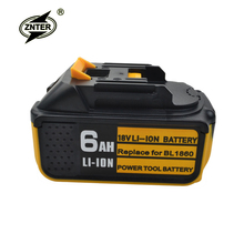 Znter 18V 6000mAh Li-ion Rechargeable Battery For Makita BL1860 BL1850 BL1830 BL1840 194205-3 Power Tool LED Indicator