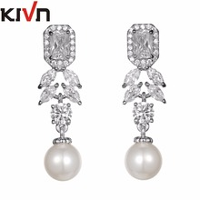 KIVN Jewelry Brilliant Drop Dangle CZ Cubic Zirconia Wedding Bridal Simulated Pearl Earrings for Women Birthday Christmas Gifts