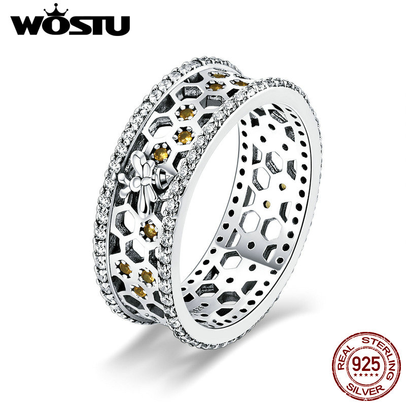 WOSTU 100% Real 925 Sterling Silver Honeycomb Design 7mm Luxury Finger Rings For Women Silver Fashion 925 Jewelry Gift DXR391