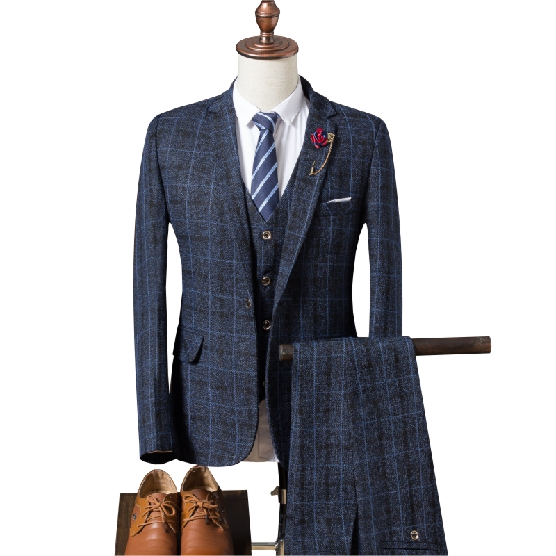 (Jacket + Vest + Pants) 2019 Men's Slim Suit, High-end Business Plaid Suit Jacket, Men's Wedding Banquet Dress Three-piece