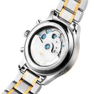Image 3 - ホットドロップ配送スケルトントゥールビヨン機械式腕時計メンズ自動ローズゴールドフル鋼機械式腕時計リロイ Hombre