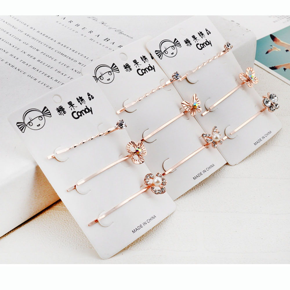 2019 New Fashion  Hot 3pcs/Set Rhinestone Women Lady Hairpin Barrettes Hairclips Hair Accessories Clip Butterfly Headwear
