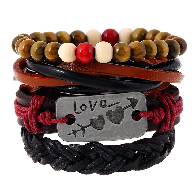 Fashion Love Heart Handmade Vintage Leather Bracelet set with Beaded Handmade Bracelet and Braided Rope