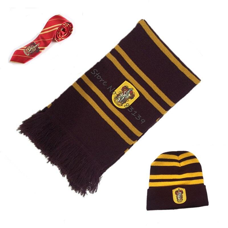 Ainiel Hermione Scarves Cap Necktie Gryffindor Slytherinn Ravenclaw Hufflepuff Tie,Hat,Scarf Cosplay Costume for women kids men
