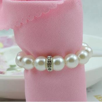 100pcs/lot White Pearl Diamond Napkin Rings For Hotel Wedding Banquet Table Decoration Accessories Party Supplies