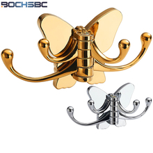 Solid Rotary Butterfly Robe Hook Bathroom Door Wall Mounted Hanger Chrome Brushed Nickel Titanium Gold Coat Hook 4 Hooks