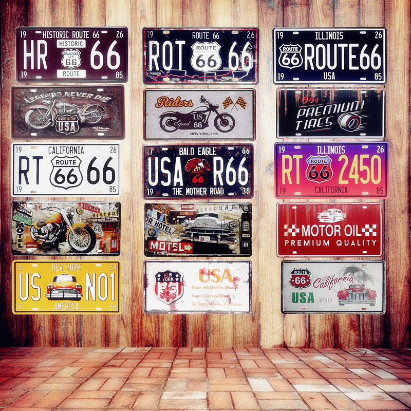 ԱՄՆ Vintage Metal Tin Signs Route 66 Car համարանիշի համարանիշի ափսե Պաստառ Bar Club Wall Wall Garage Home Decoration 15 * 30cm A133