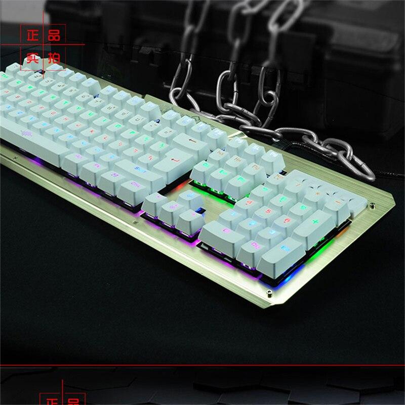 ФОТО Pro Wired gaming Mechanical Keyboard green axis Ergonomics 104 Keys backlight RGB Game for Teclado dota cs go LOL Computer Gamer