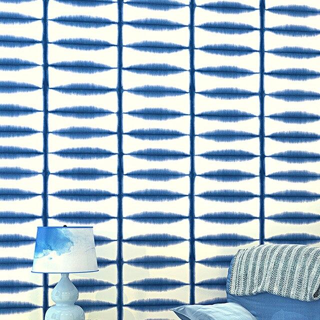 Ölgemälde Wirkung Designer Tapeten Green Leaf Streifen Muster Blau Orange  Creme Tapete Schlafzimmer Arbeitszimmer Wandbekleidung