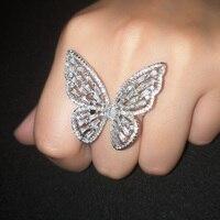 OCESRIO Циркон Серебряное кольцо с бабочкой Роскошные кубического циркония фантазии большие кольца для женщин Jewelry bagues pour femme rig-f61