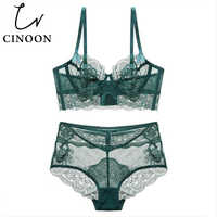 CINOON Sexy lingerie Transparent Underwear Ultra-thin Bra set 2018 new Women High Waist Brief Floral Embroidery brassier panty