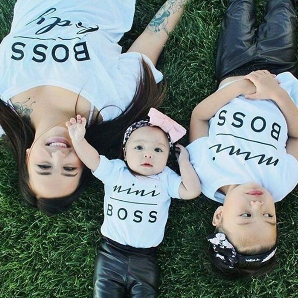 Family Look Mini Boss Print Couple T Shirts Summer Family Matching Clothes Father font b Mother