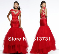 Newl Arrival 2014 Sexy See Through Mermaid Red Tulle Appliques Lace Prom Dresses Long Backless Evening Dresses Free Shipping