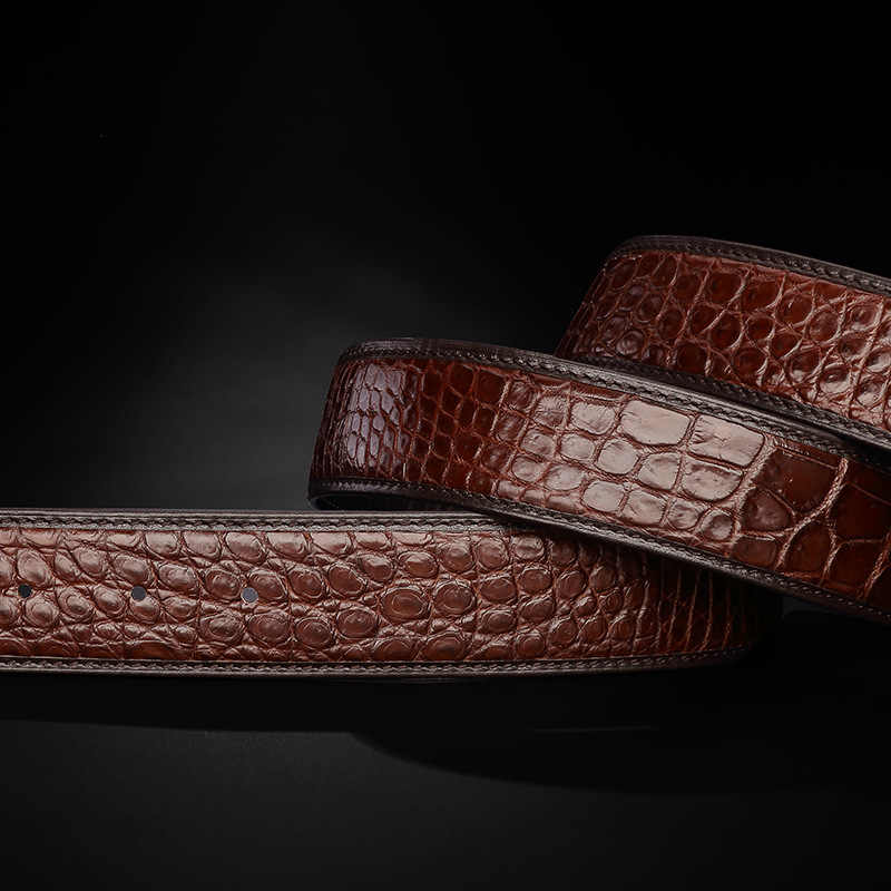 f5e5267d9c ... genuine leather belts without buckles Real crocodile leather belt no  buckle Luxury alligator skin waist belt ...