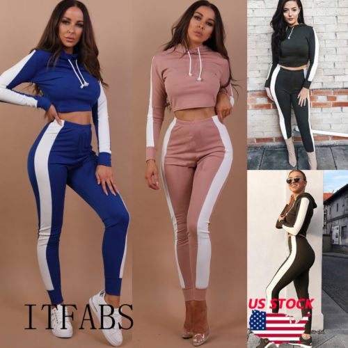 New Clothes Set Women Sportswear Crop Top Hooded+High Waist Skinny Stretch Long Pant Keep Fitness/Healthy Jumpsuit Active