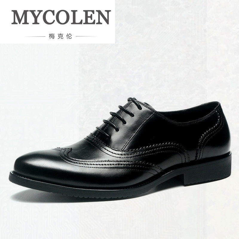 MYCOLEN Luxury Italian Genuine Cow Leather Men Wedding Oxford Shoes Lace-Up Office Suit Men's Dress Shoe Zapatos Vestir Hombre hot sale italian style men s flats shoes luxury brand business dress crocodile embossed genuine leather wedding oxford shoes