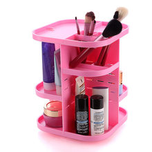 360 Rotating 3 Colors PC Board Makeup Organizer Shelf for Cosmetic Brushes Lipstick Large Capacity Storage Rack(China)