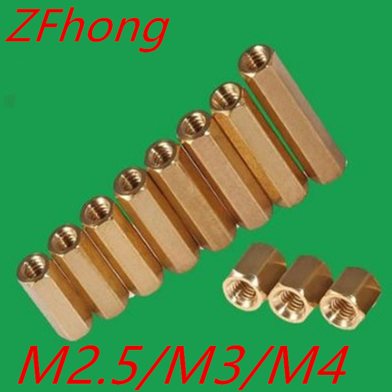 20pcs hex brass standoff spacer female to female M2.5 m3 m4 Brass long hex screw spacer m2 3 3 1pcs brass standoff 3mm spacer standard male female brass standoffs metric thread column high quality 1 piece sale