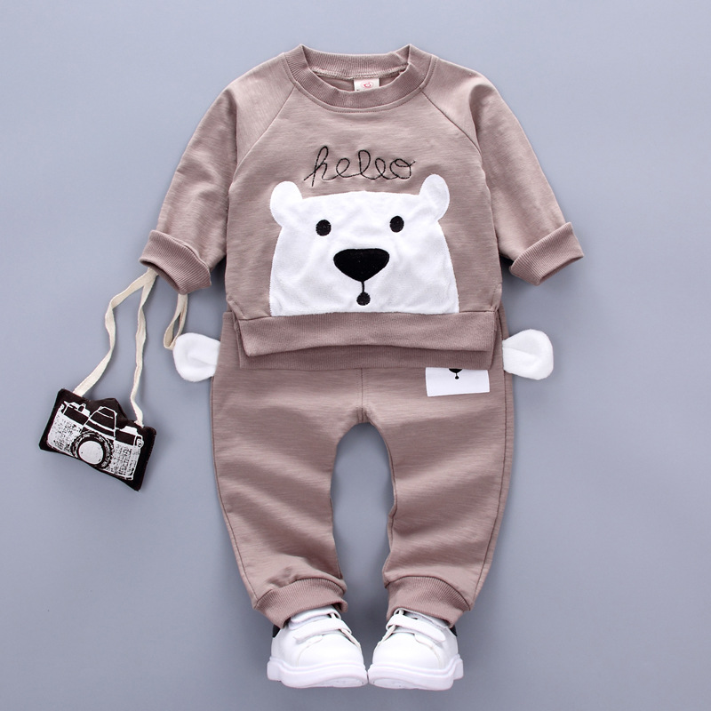 2017 spring new children clothing sets 100% cotton Long-sleeved trouser 2 pcs  boys / girls clothes 1-4 years kids clothes
