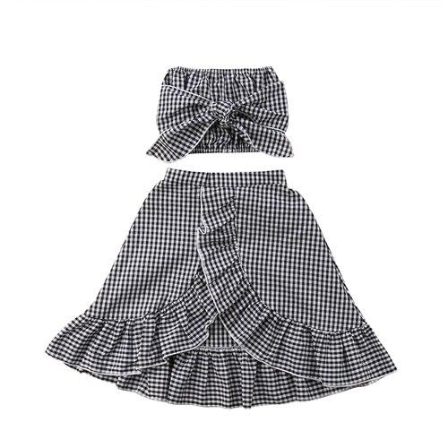 Toddler Infant Baby Girl Plaids Summer 2Pcs Sunsuit Kids Girls Off Shoulder Bowknot Tops Tutu Skirts Dress Sundress Clothes Set