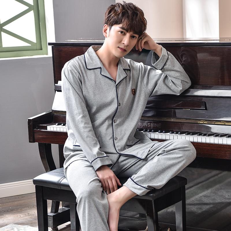 New Pajama Set Male Cotton Sleepwear Gray Home Clothing Long Sleeves Spring Cardigan Top Quality Brand Leisure Pyjamas Suit 3XL
