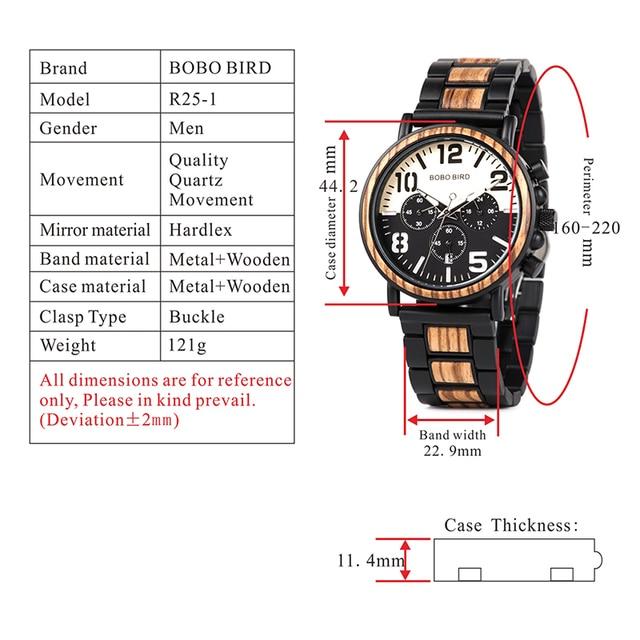 BOBO BIRD Men's Wooden Stainless Steel Water Resistant Chronograph Quartz Watches 4