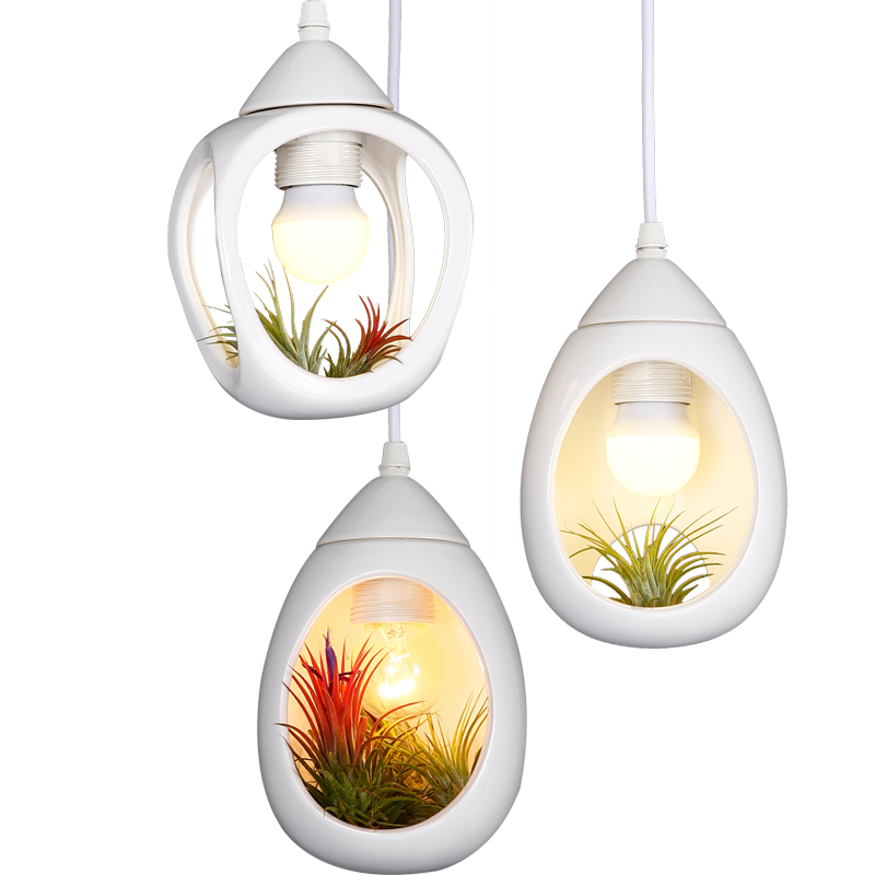 Simple Modern Pastoral Creative DIY Ceramic Plant Pot Led E27 Pendant Light For Living Room Dining Bar Balcony Deco 2286