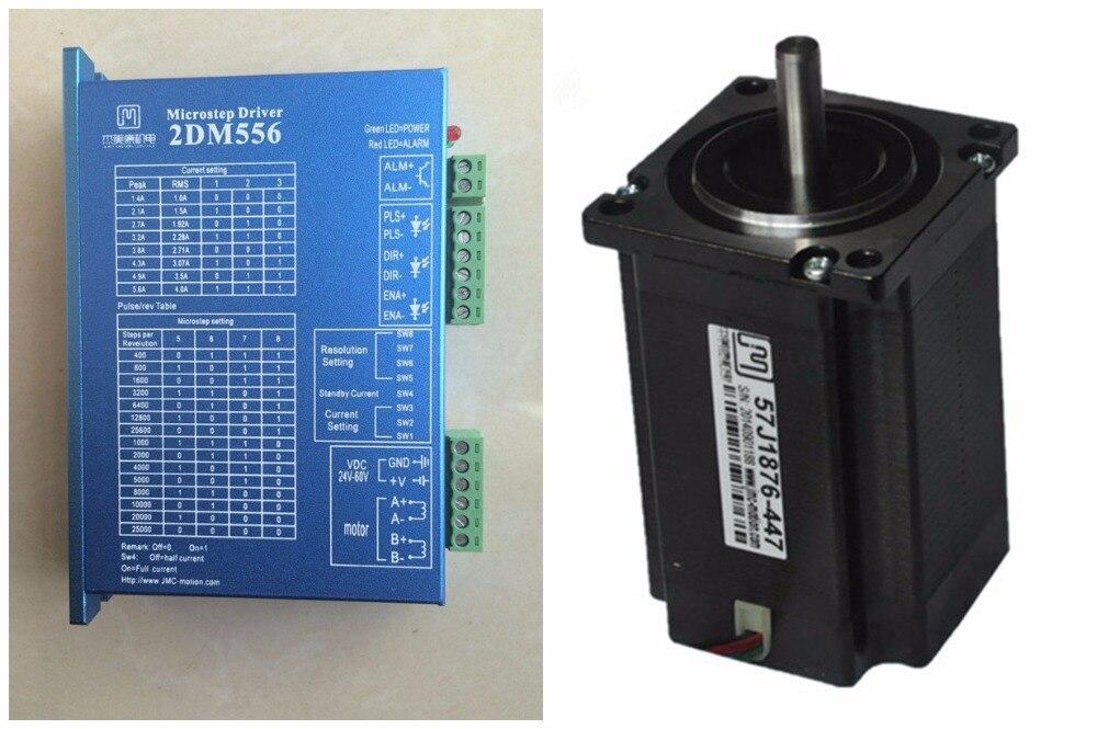 NEMA23 2Nm 283ozin Hybrid stepper motor driver kit 2phase 24-60VDC for CNC engraving cutting 57J1876-447+2DM556 original 2 phase cnc stepper motor driver ykc2405m
