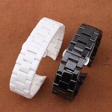 Venda de reloj de cerámica blanco negro venda de reloj 22mm correa de reloj Hebilla de Mariposa pulsera de alta calidad de Cuarzo relojes de los hombres