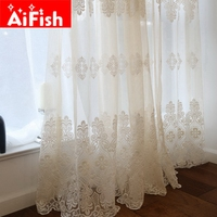 White Lace European Embroidery Window Screens Living Room Balcony Korean Simple All Match Bedroom Voile Panels