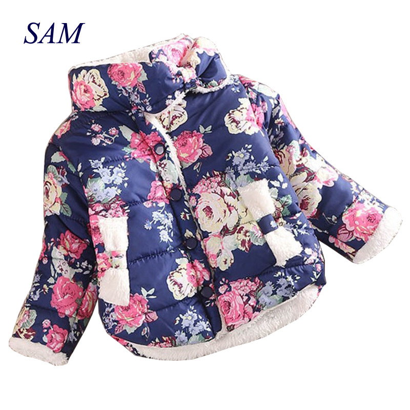 Baby Girls Warm   Coat   2017 Winter Long Sleeve Baby Outerwear Warm   Down   Flower Print Girls   Coats