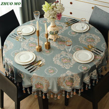 Nordic style jacquard Round Tablecloth With Tassel Wedding decoration kitchen new Year gift Party Desk Cloth Dinning Table cover
