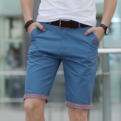 Solid Shorts Men Plaid Ruched Hem Short Male Fashion Shorts Plus Size Summer Mens Shorts Cotton Casual Brand Style marque homme Karachi