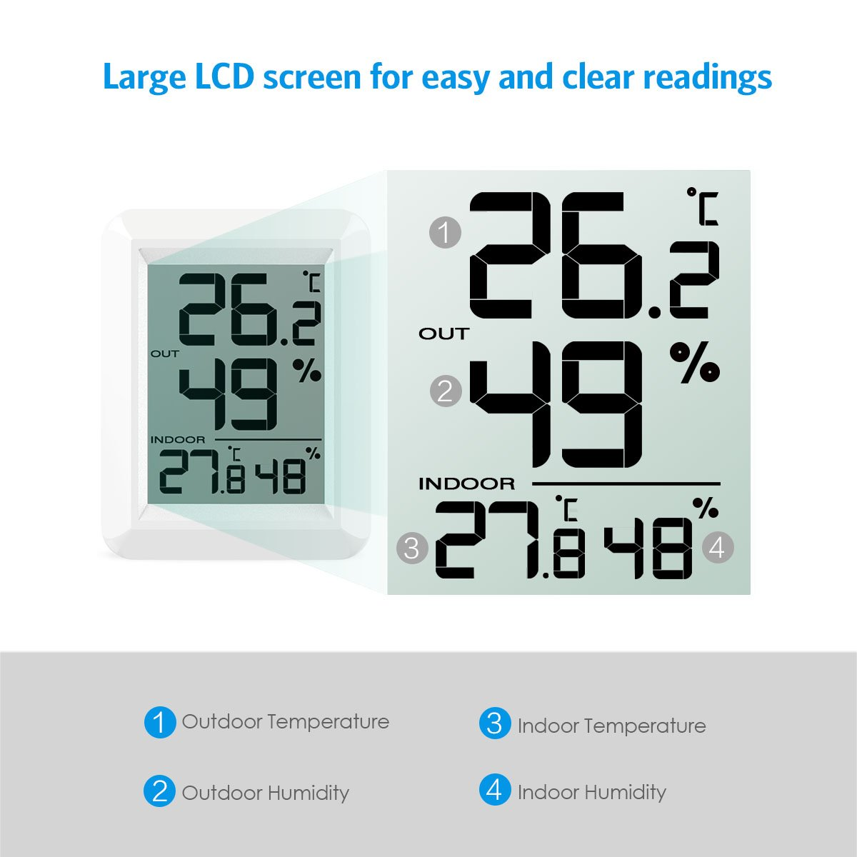 Indoor Outdoor Temperature Humidity Monitor Digital Wireless Hygrometer LCD Thermometer Weather Station Alarm Clocks